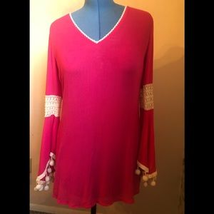 Solitaire Swim Bright pink Bell Sleeves Boho Top